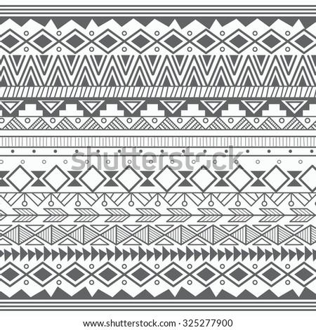 Aztec tribal pattern in stripes, vector illustration - stock vector