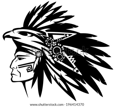 Aztec tribe warrior wearing feather headdress with eagle profile head - black and white vector outline - stock vector