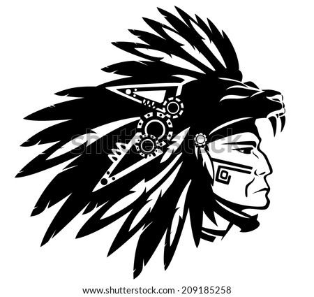 Aztec tribe warrior wearing feather headdress with panther head - black and white vector design - stock vector