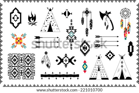Aztec vector elements set