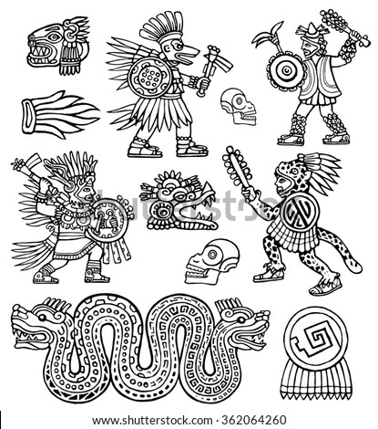 Aztec warriors, skull, jaguar and snake vector ink illustration set