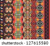 Aztecs seamless pattern on hot color - stock photo