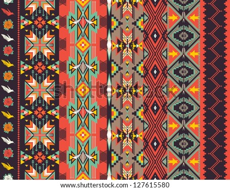 Aztecs seamless pattern on hot color - stock vector