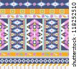 Aztecs seamless pattern with flowers - stock vector
