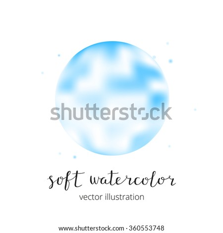 Azure blurry vector watercolor spot isolated on white background.