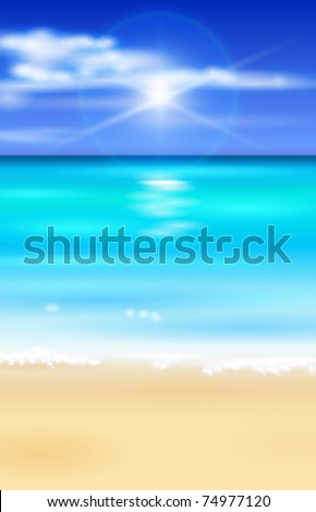azure ocean, blue sky with white fluffy clouds, white sand deserted tropical beach - vector illustration for a tourist theme - stock vector