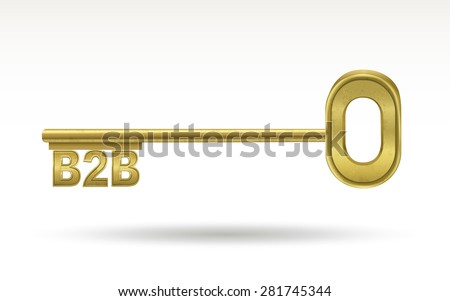 B2B - golden key isolated on white background - stock vector