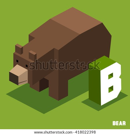 B for Bear, Animal Alphabet collection. vector illustration - stock vector