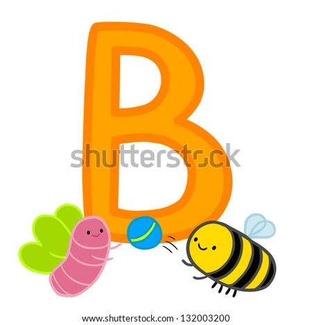 b for bee butterfly and ball letter for funny alphabet