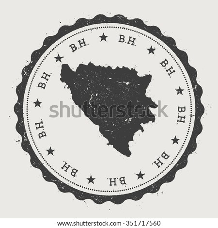 B.H.. Hipster round rubber stamp with Bosnia and Herzegovina map. Vintage passport stamp with circular text and stars, vector illustration - stock vector