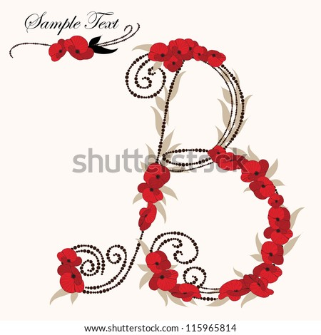 B, hand drawn flower alphabet - stock vector