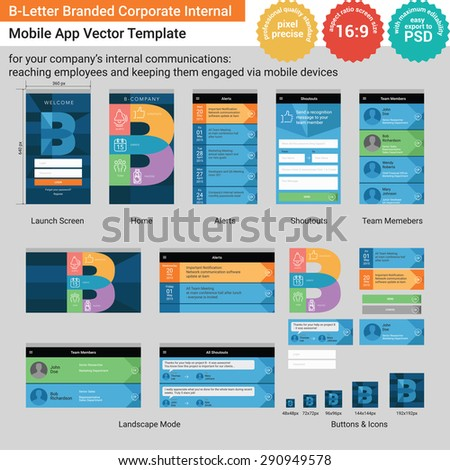 B-Letter Branded Corporate Internal Mobile App Vector Template  - stock vector