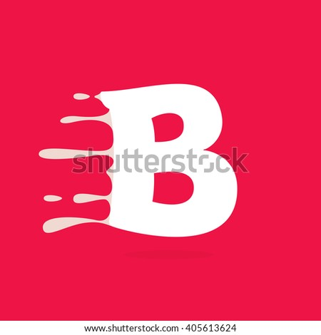 B letter logo made of milk. Vector design template elements for your poster or corporate identity. - stock vector
