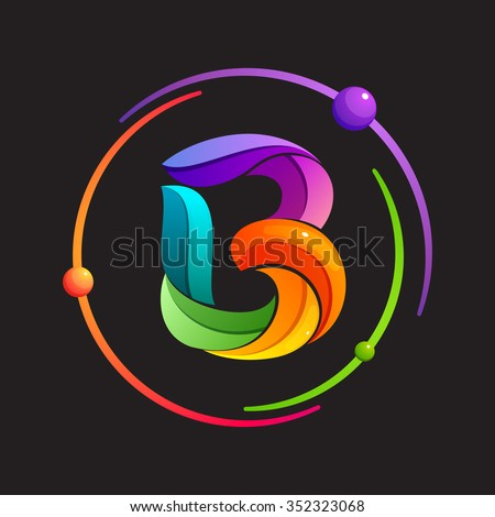 B letter logo with atomic or space orbits. Abstract trendy multicolored vector design template elements for your application or corporate identity. - stock vector