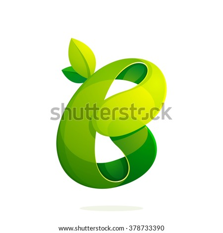 B letter with green leaves eco logo, volume icon. Font style, vector design template elements for your ecology application or corporate identity. - stock vector