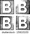 B part of a complete alphabet of vintage rubber stamp letters - stock vector
