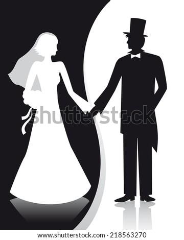 B&W wedding. Wedding couple. - stock vector