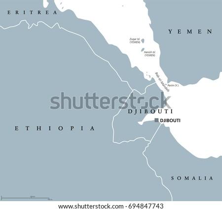 Bab El Mandeb Strait Region Political Stock Vector 694847743