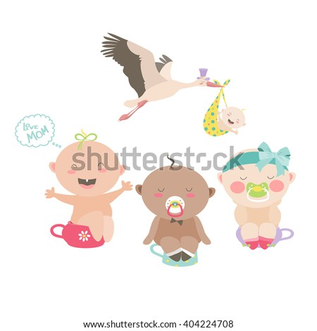 Babies are sitting on a chamber pots - stock vector