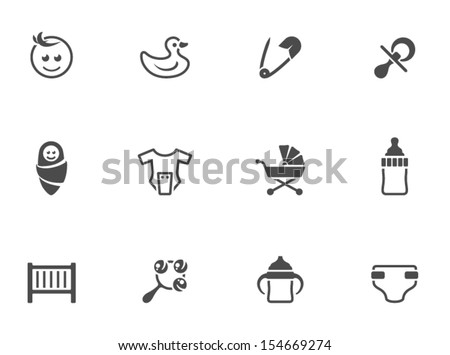 Babies icons in black & white - stock vector