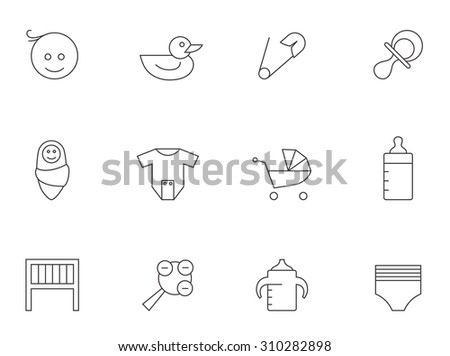 Babies icons in thin outlines. Diaper, toys, milk bottles - stock vector