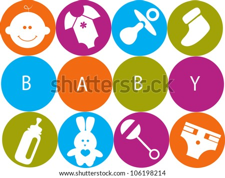 baby accessories, card template - stock vector
