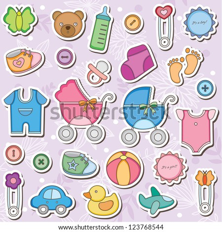 Baby Accessories Clip Art - stock vector