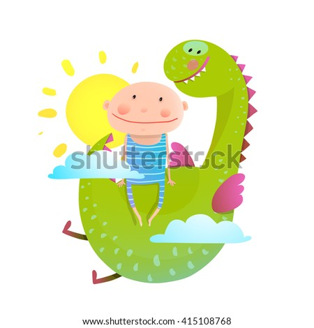 Baby and dragon cloud sun flying happy friends. Baby and dragon friendship. Animal funny monster, young kid cheerful, vector illustration. - stock vector