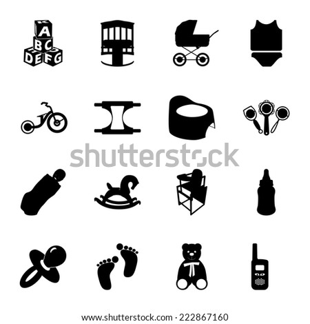 Baby and kids black and white flat icons set - stock vector