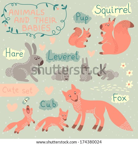 Baby and Mommy Animal Set - for design and scrapbook. Vector illustration. - stock vector