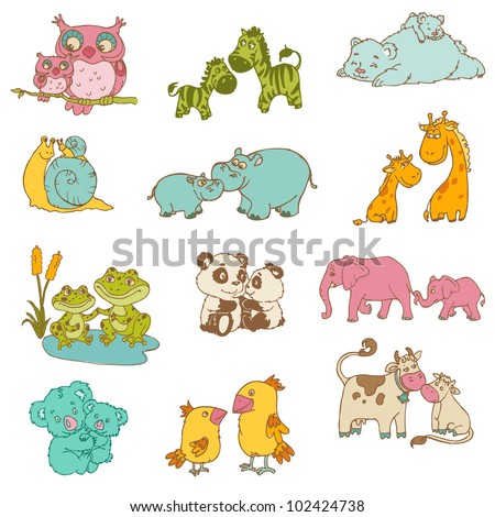 Baby and Mommy Animals  - hand drawn - in vector - stock vector