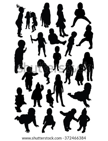 Baby and toddlers outdoor silhouettes  - stock vector