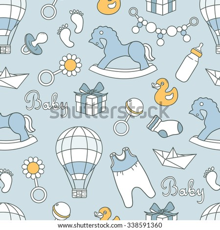 Baby and toys hand drawn seamless pattern. Doodle blue background vector.Sketch objects