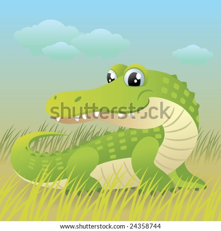 Baby Animal collection: Crocodile  More baby animals in my gallery. - stock vector