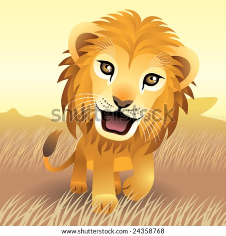 Baby Animal collection: Lion  More baby animals in my gallery. - stock vector