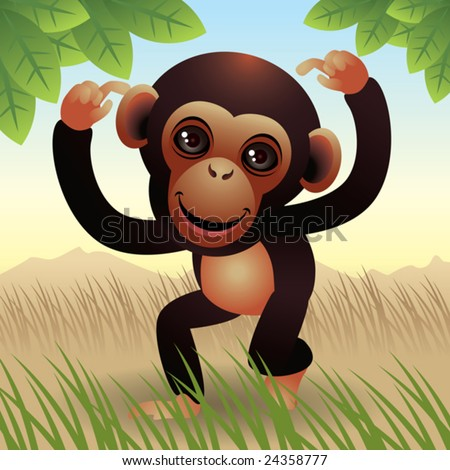 Baby Animal collection: Monkey  More baby animals in my gallery. - stock vector