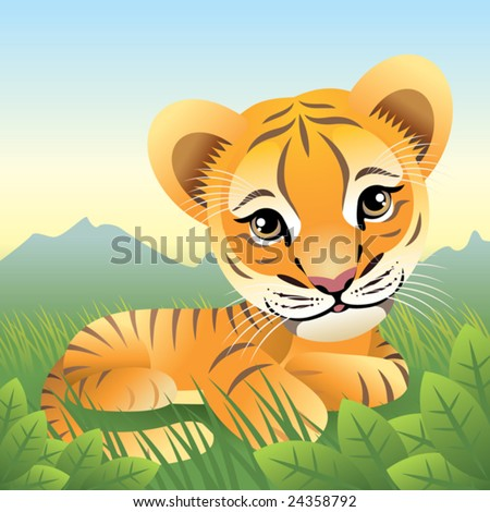 Baby Animal collection: Tiger  More baby animals in my gallery. - stock vector