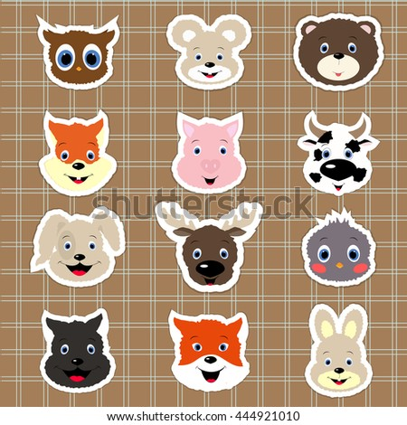 Baby animal stickers. collection of icons. Template for design and decoration. Baby vector illustration.