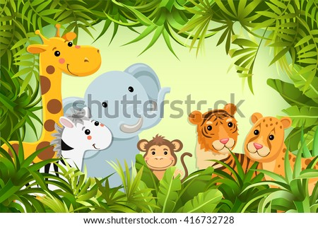 baby animals in tropical jungle.  - stock vector