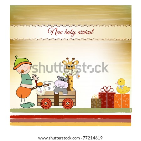 baby anniversary card with same gifts - stock vector