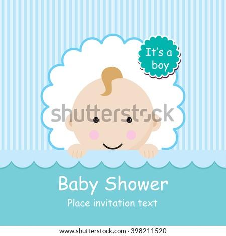 baby arrival announcement card baby boy stock vector 398211520