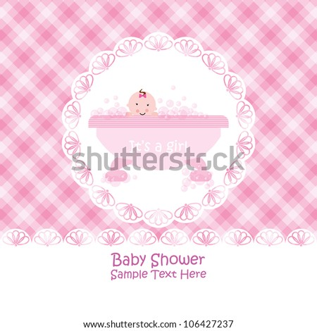 Baby arrival announcement card / Baby girl shower card