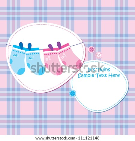 Baby arrival announcement card / Twin baby boy and girl shower card - stock vector