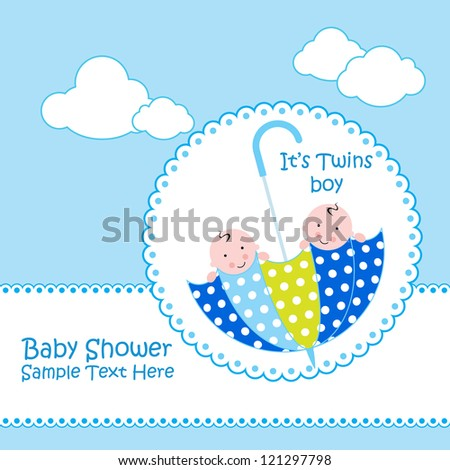 Baby boy shower card baby card baby and umbrella design stock