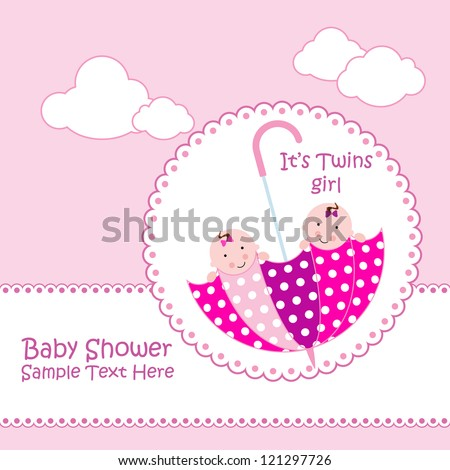 Baby Arrival Announcement Card Twin Baby Stock Vector - Baby arrival announcement
