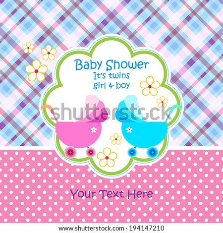 baby arrival announcement card twin baby girl shower card baby