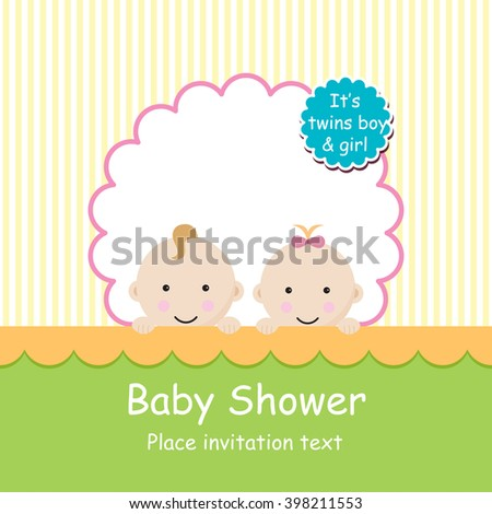 Baby Arrival Announcement Card Twins Baby Stock Vector - Baby arrival announcement