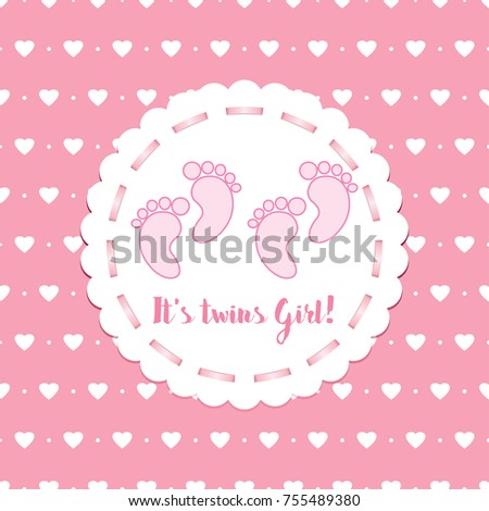 baby arrival announcement card twins baby stock vector royalty free