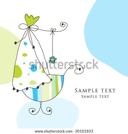 Baby arrival card - Boy arrival announcement card - stock vector