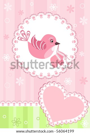 Baby arrival card. Vector illustration. - stock vector
